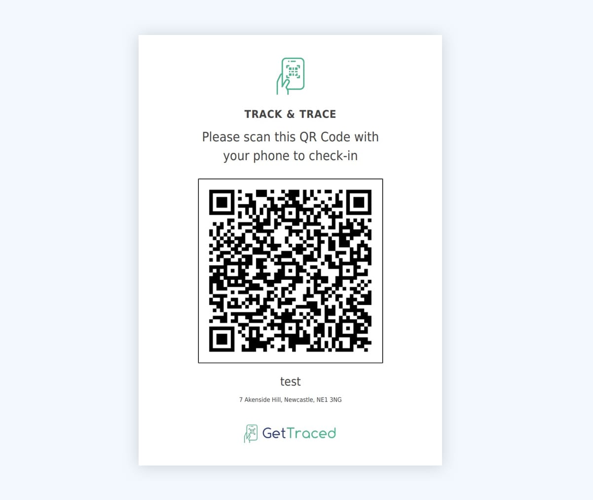 Track and Trace QR Code Poster